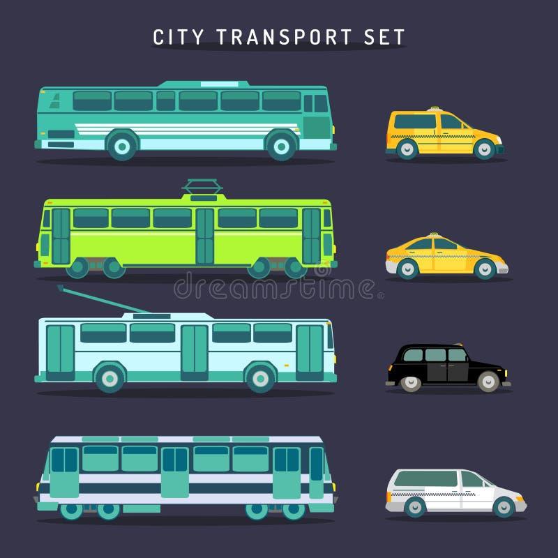 Комплект перехода города вектора в плоском стиле Городское infographics кораблей Муниципальная шина, трамвай, поезд, троллейбус,  иллюстрация штока