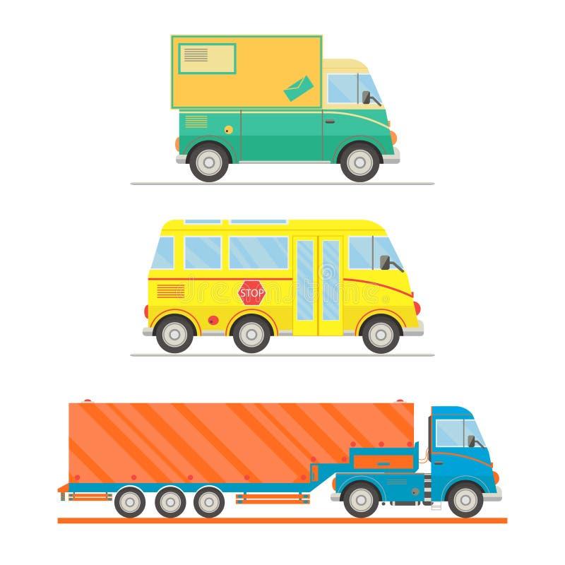 Комплект перехода шаржа Почтовая тележка, школьный автобус, тележка полуприцепа иллюстрация бесплатная иллюстрация
