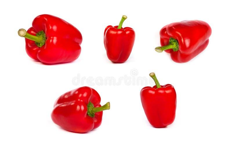 Комплект перцев красного колокола сладостных на белизне стоковое изображение