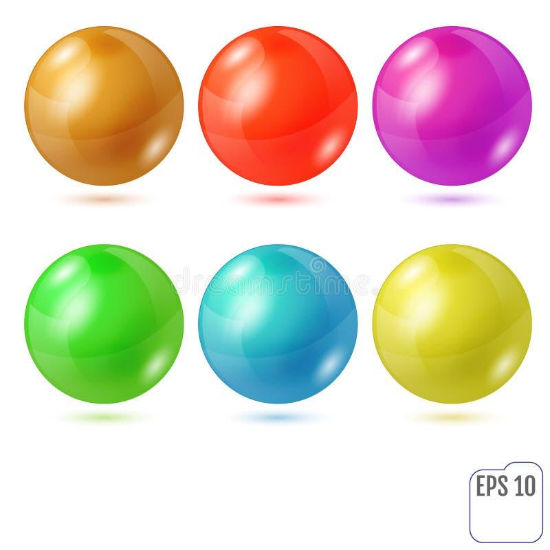 Комплект 6 пестротканых реалистических покрашенных сфер изолированных на wh бесплатная иллюстрация