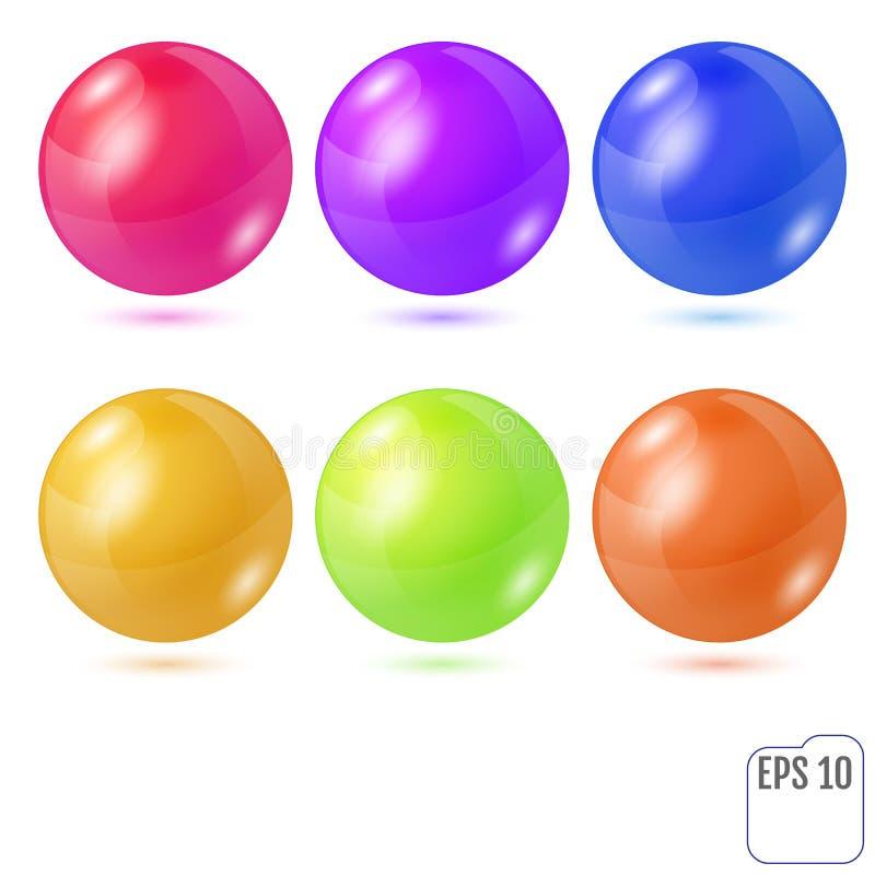 Комплект 6 пестротканых реалистических покрашенных сфер изолированных на wh иллюстрация вектора
