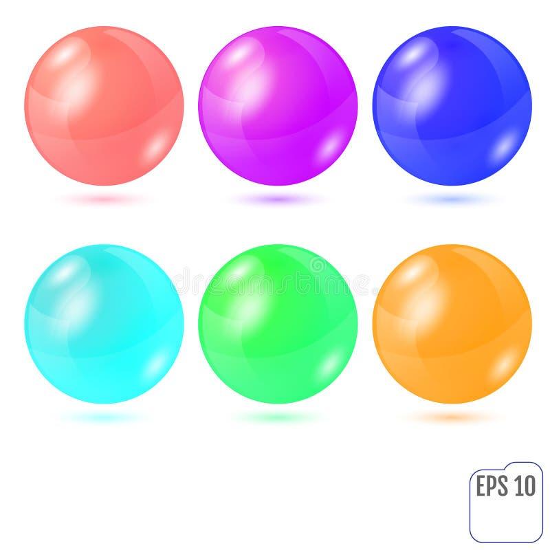 Комплект 6 пестротканых реалистических покрашенных сфер изолированных на wh иллюстрация штока