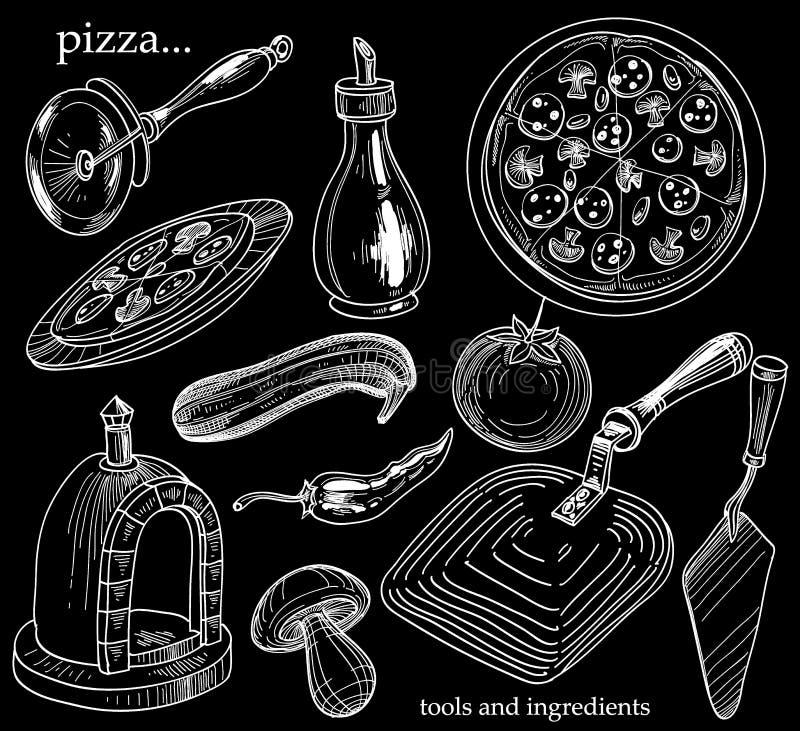 Комплект пиццы бесплатная иллюстрация
