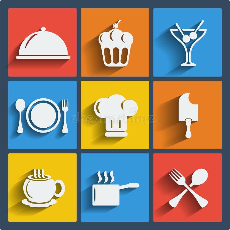Комплект пищевой сети 9 и передвижных значков. Вектор. иллюстрация штока