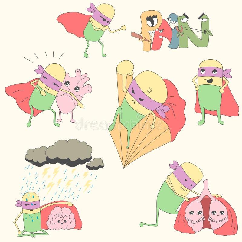 Комплект пилюльк-супергероев защищает внутренние органы иллюстрация вектора