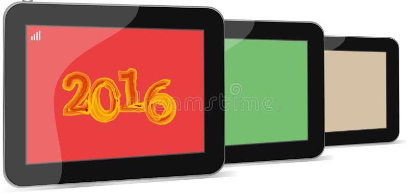 Комплект ПК таблетки или умного значка телефона изолированных на белизне с знаком 2016 иллюстрация штока