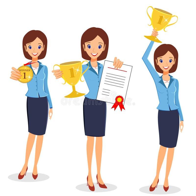 Комплект победителя бизнес-леди Жизнерадостная дама держа приз и certi иллюстрация вектора