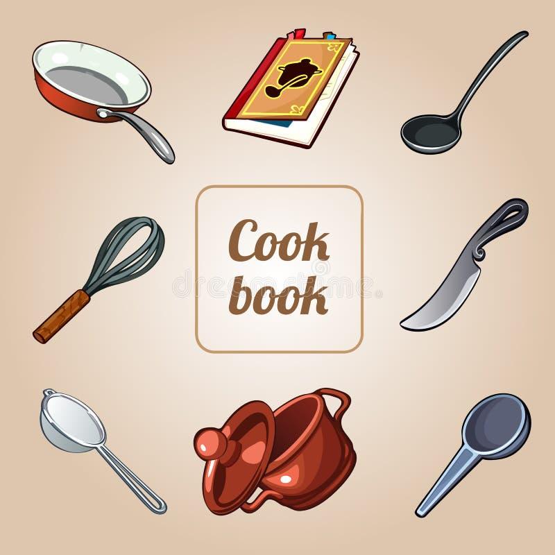 Комплект поваренной книги, 8 vector значки блюд бесплатная иллюстрация