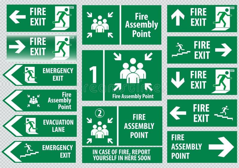 Комплект пожарного выхода иллюстрация штока