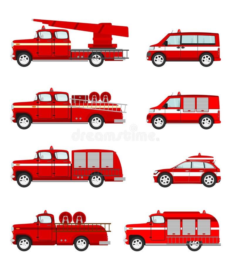 Комплект пожарной машины шаржа иллюстрация штока