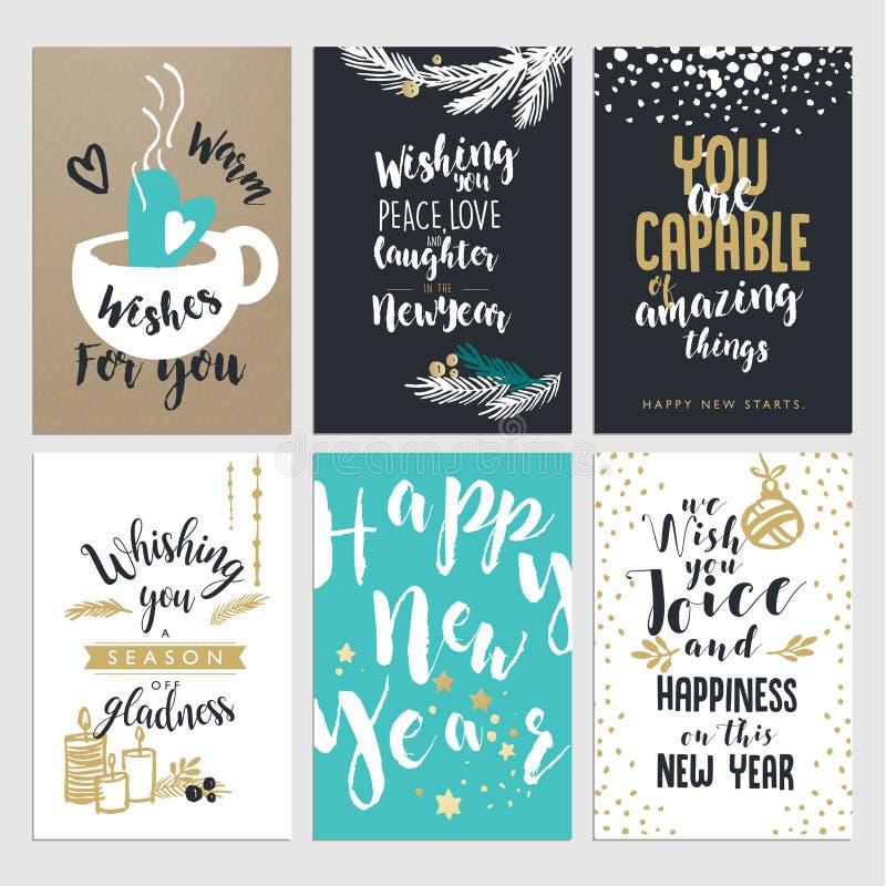 Комплект поздравительные открытки дизайна рождества и Нового Года плоские иллюстрация штока
