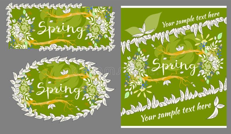Комплект поздравительных открыток весны и лета иллюстрация штока