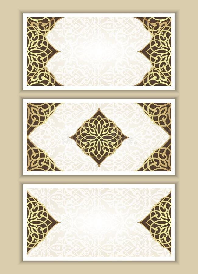 Комплект поздравительных открыток в викторианском стиле иллюстрация вектора