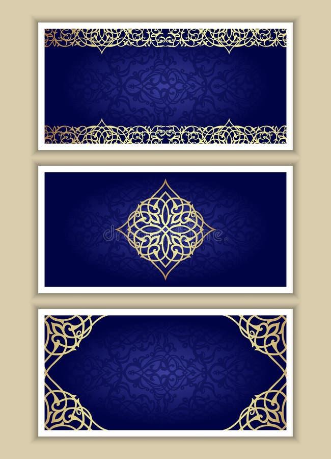 Комплект поздравительных открыток в викторианском стиле иллюстрация штока