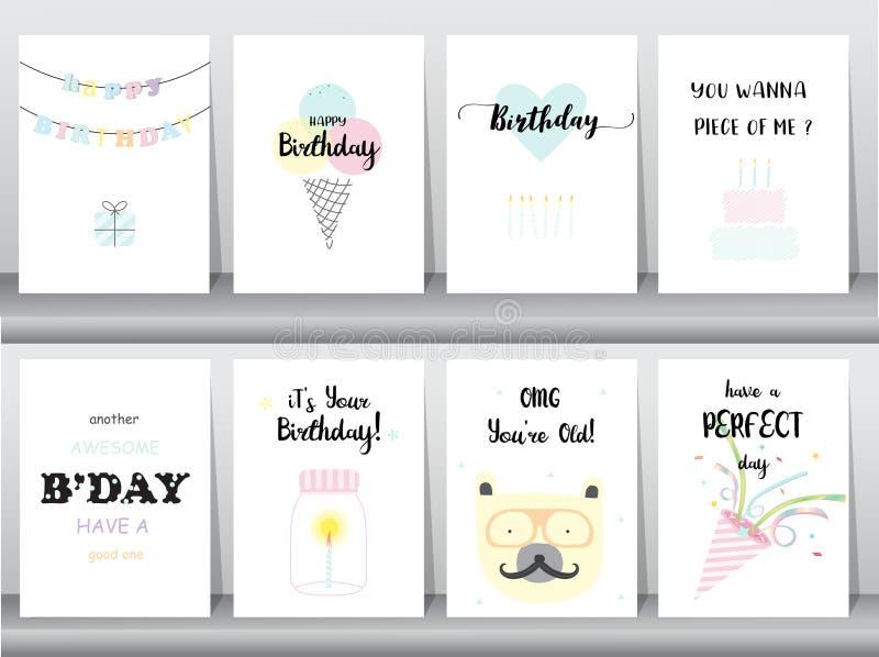 Комплект поздравительых открыток ко дню рождения, приглашение, плакат, приветствие, шаблон, животные, торт, свеча, poper, иллюстр бесплатная иллюстрация