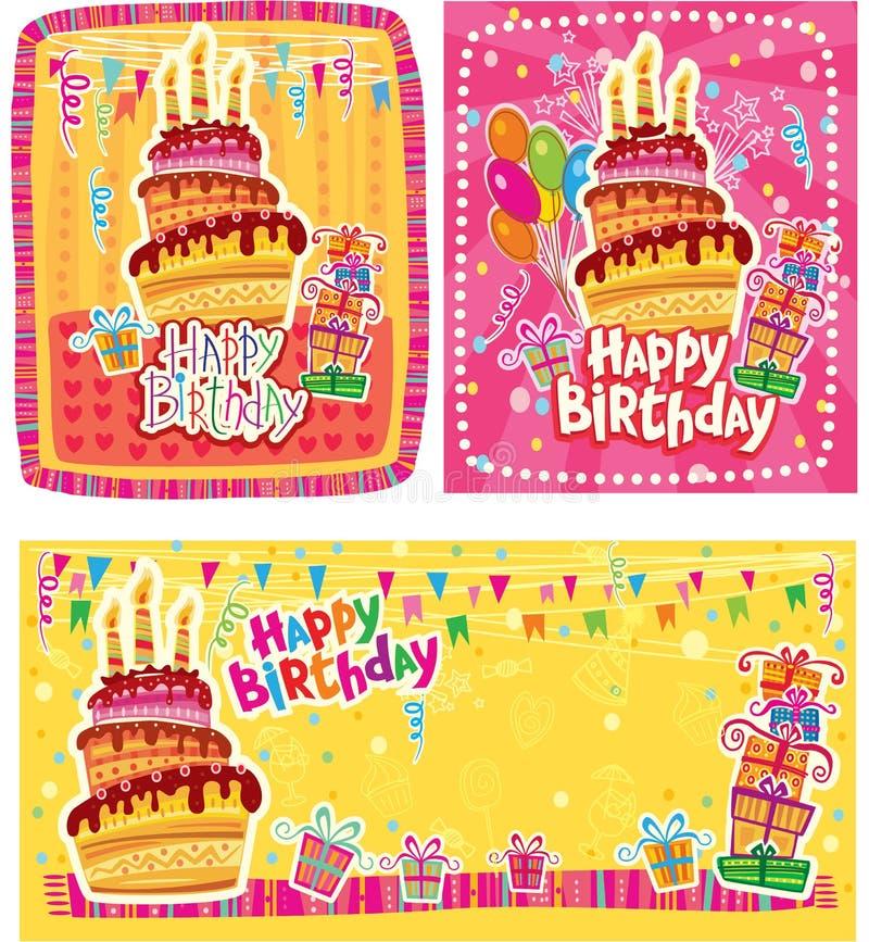 Комплект поздравительых открыток ко дню рождения с днем рождений иллюстрация штока