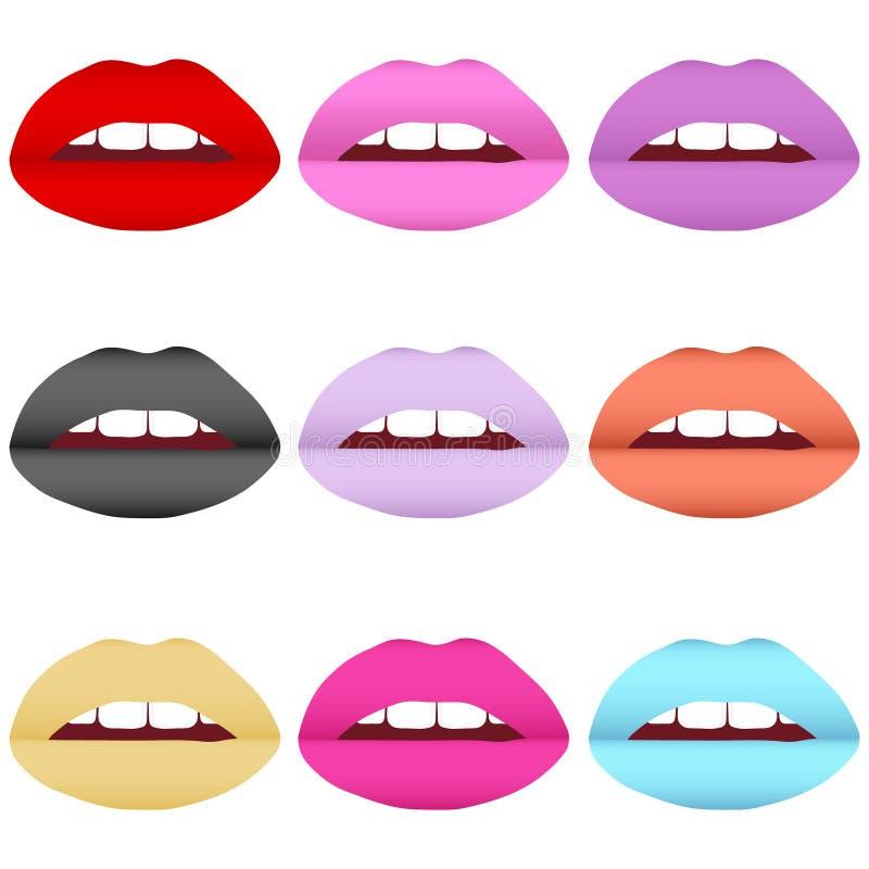Комплект покрашенных губ иллюстрация штока