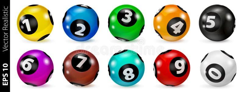 Комплект покрашенных лотереей шариков номера 0-9 иллюстрация штока