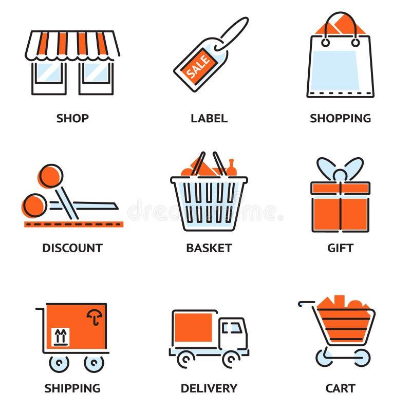 Комплект покупок и розничных значков вектора плана иллюстрация штока