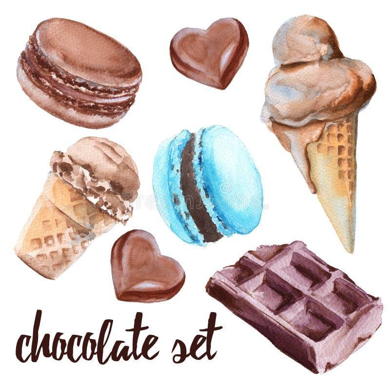 Комплект помадок шоколада Торт, конфета, мороженое и macaroon иллюстрация вектора