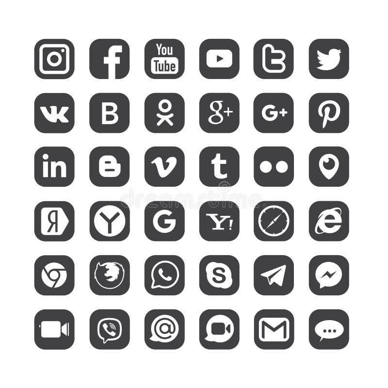 Комплект популярных социальных логотипов средств массовой информации стоковые изображения rf