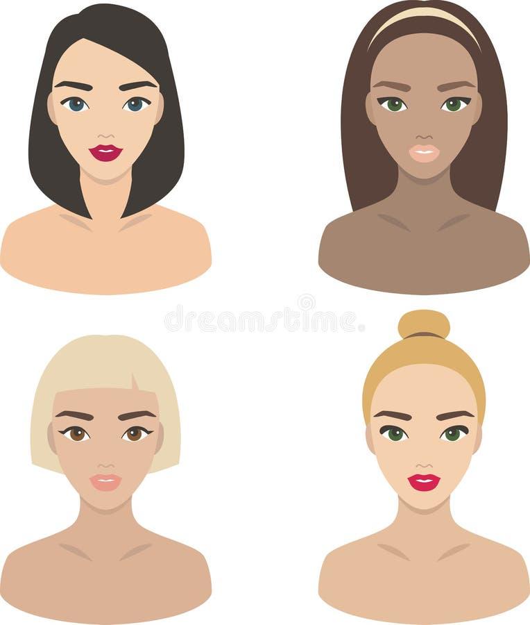 Девушки - комплект икон вектора бесплатная иллюстрация