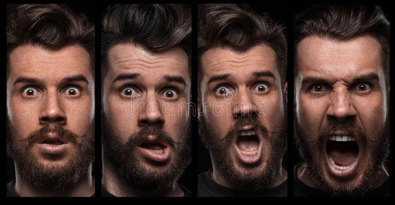 Комплект портретов молодого человека с различной стоковое изображение rf
