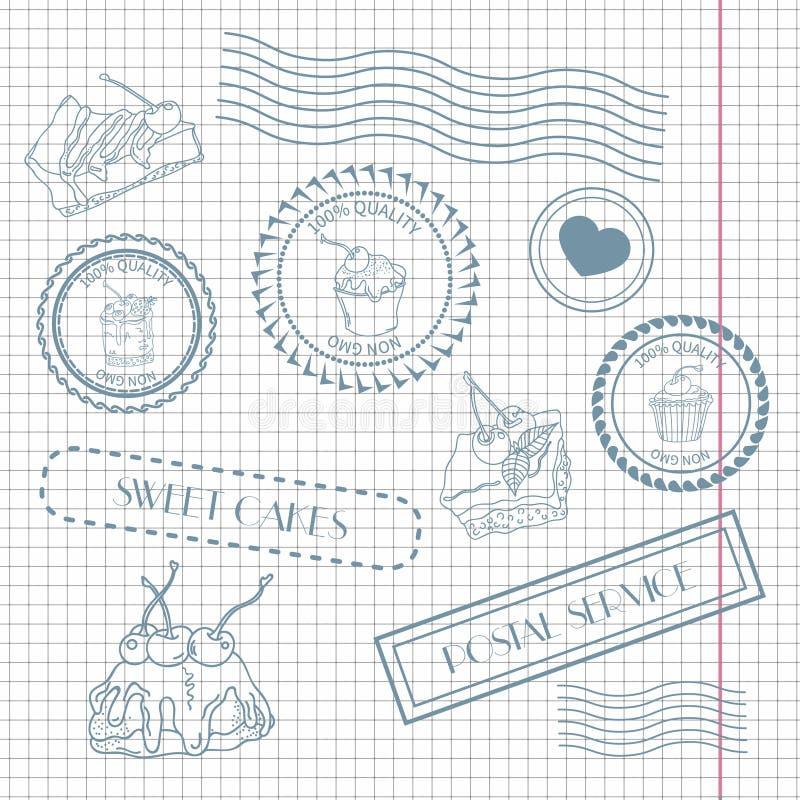Комплект почтовых штемпелей и postmarks бесплатная иллюстрация