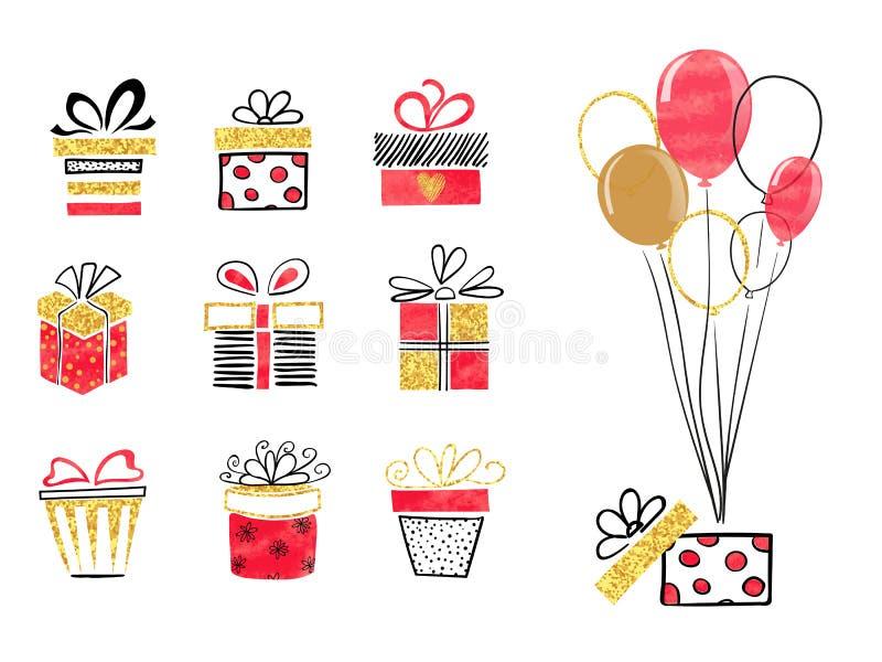 Комплект подарочных коробок нарисованных рукой в красных, черных и золотых цветах иллюстрация штока