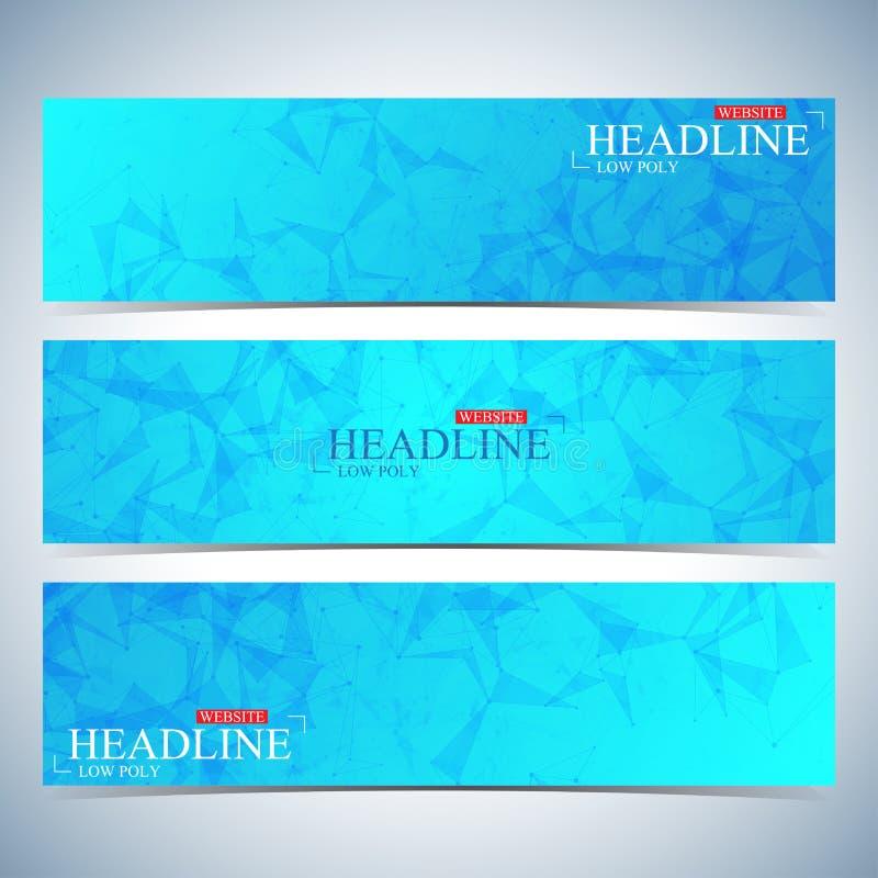 Комплект полигональных горизонтальных предпосылок Современный шаблон дизайна вебсайта страницы также вектор иллюстрации притяжки  иллюстрация вектора