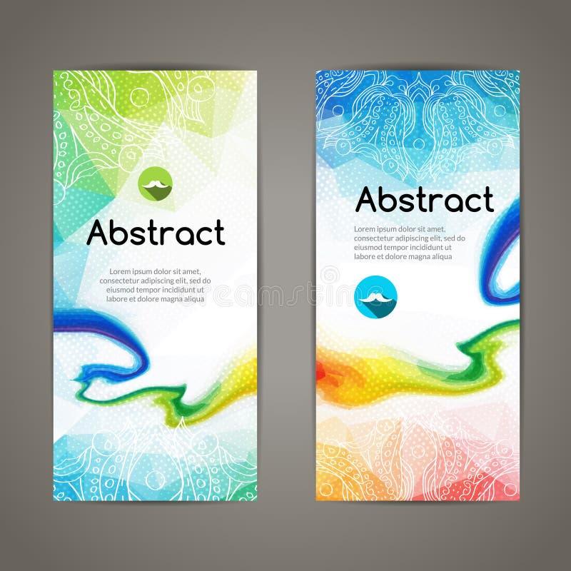 Комплект полигональных триангулярных красочных геометрических знамен для innovate дизайн молодости современный бесплатная иллюстрация