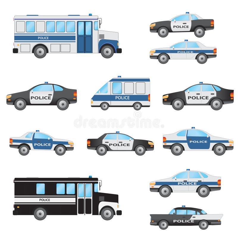 Комплект полицейских автомобилей бесплатная иллюстрация
