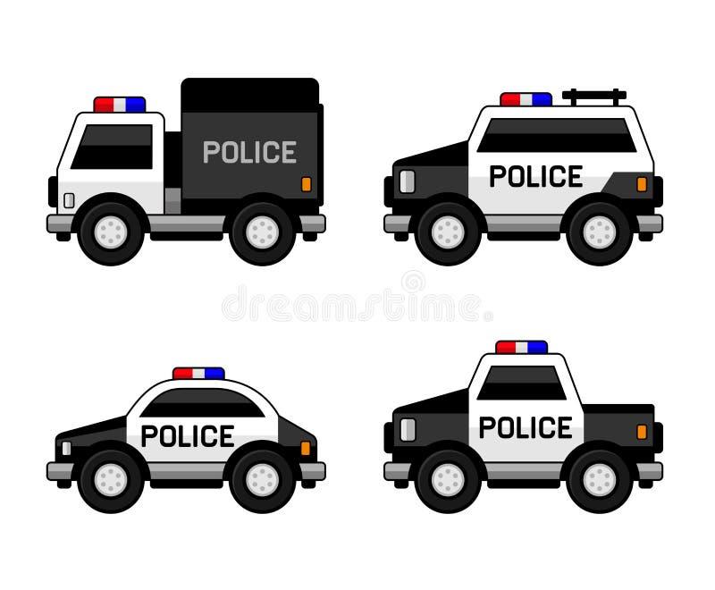 Комплект полицейской машины Классические черно-белые цвета вектор иллюстрация вектора