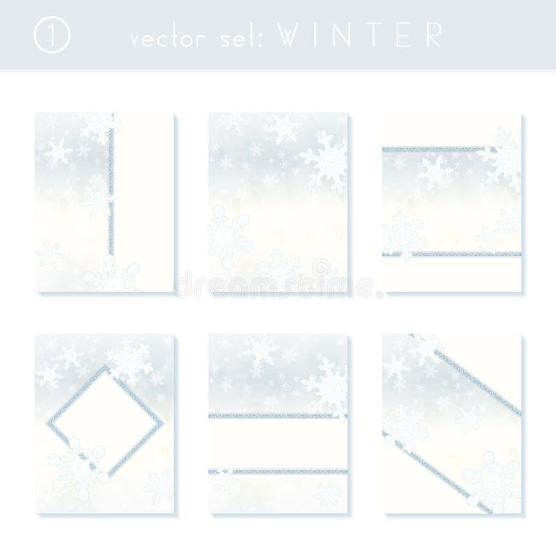 Комплект праздничных знамен снежинки иллюстрация вектора