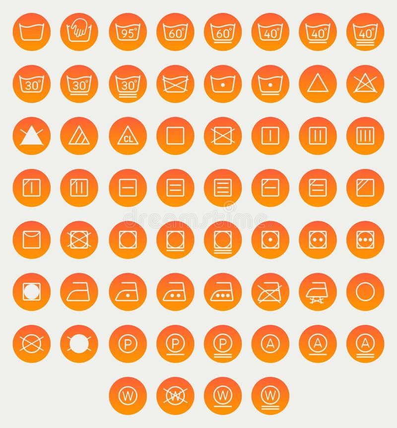 Комплект прачечной, моя символы значка изолированной на белой предпосылке иллюстрация вектора