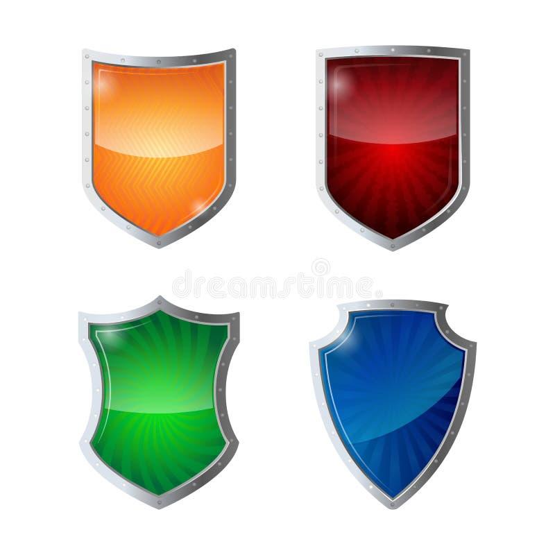Комплект предохранения от экранов, безопасности сети, концепции логотипа антивируса иллюстрация вектора
