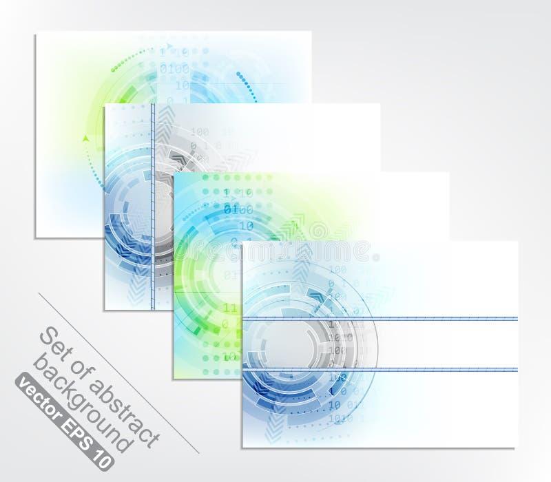 Комплект предпосылки 4 абстрактных технологий бесплатная иллюстрация