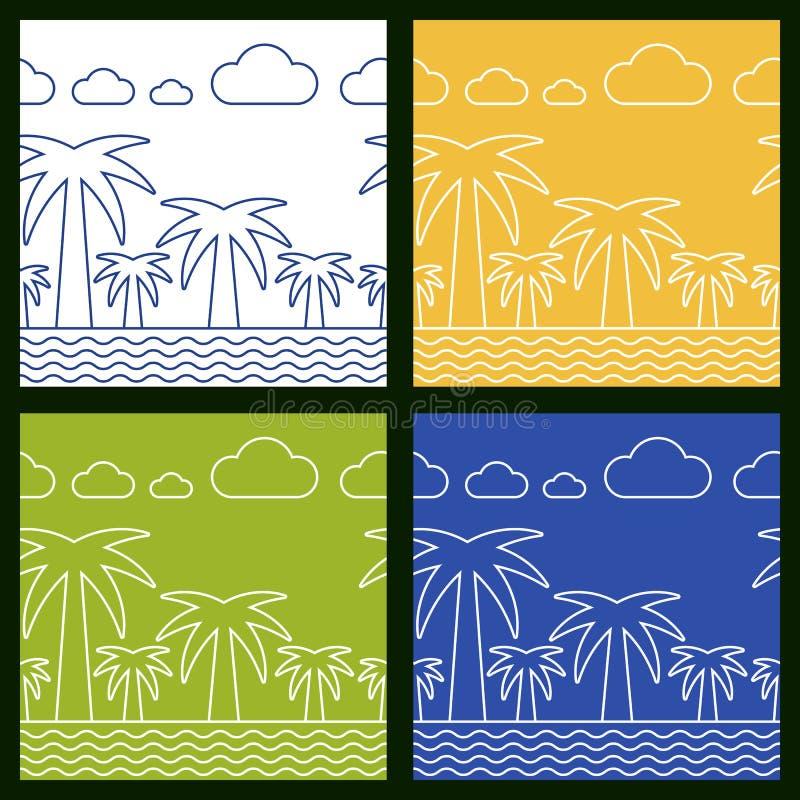 Комплект предпосылки вектора пляжа лета безшовной Пальма, море a иллюстрация вектора