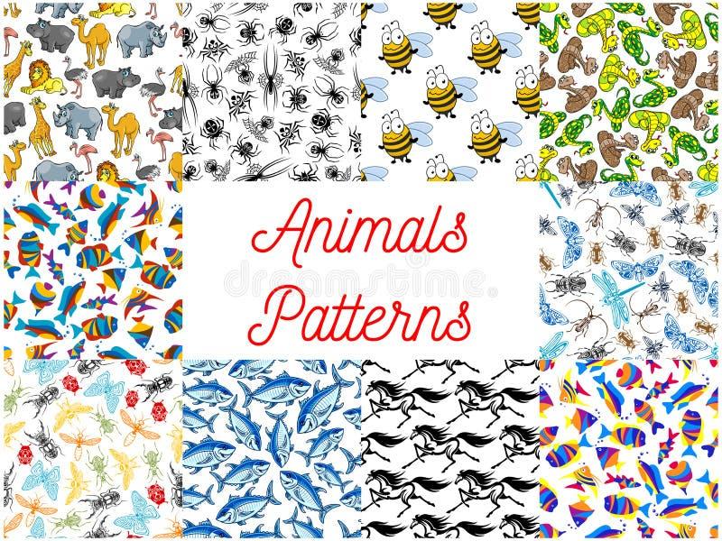 Комплект предпосылки животных и рыб безшовный иллюстрация штока