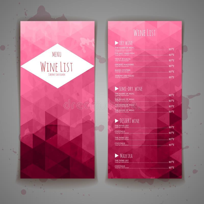 Комплект предпосылки меню вина треугольника иллюстрация штока