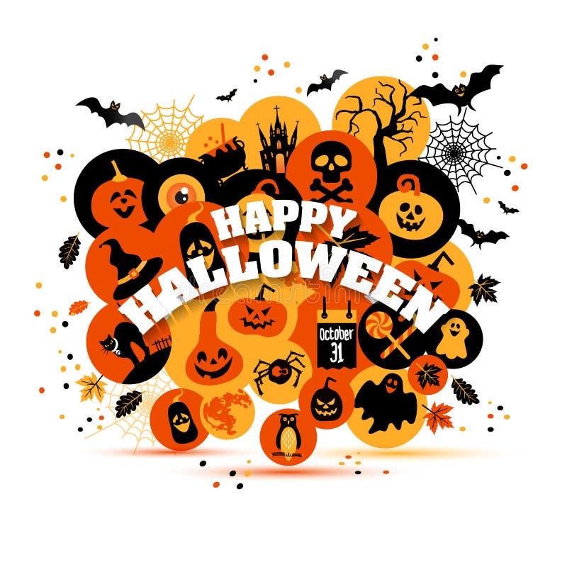 Комплект предпосылки хеллоуина значков цвета бесплатная иллюстрация