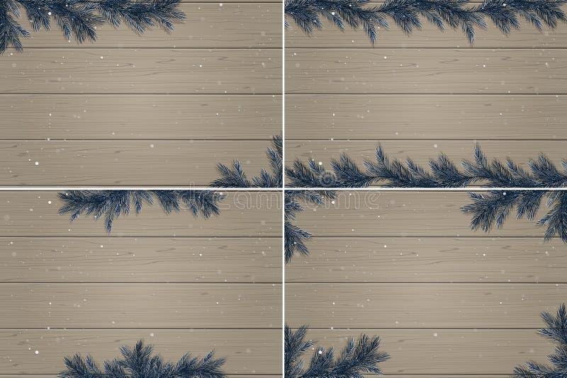 Комплект 4 предпосылок зимы деревянных иллюстрация вектора