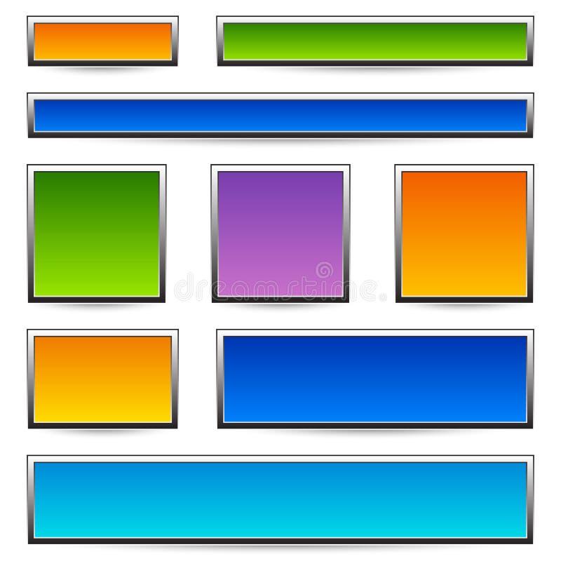 Комплект предпосылок знамени/кнопки/металлической пластинкы с рамками бесплатная иллюстрация