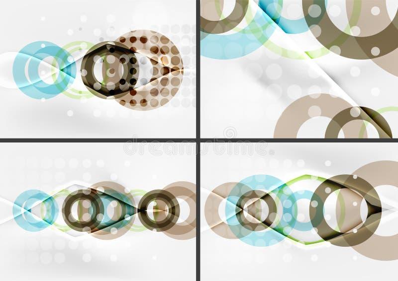 Комплект предпосылок конспекта дизайна формы круга с световыми эффектами и украшениями бесплатная иллюстрация