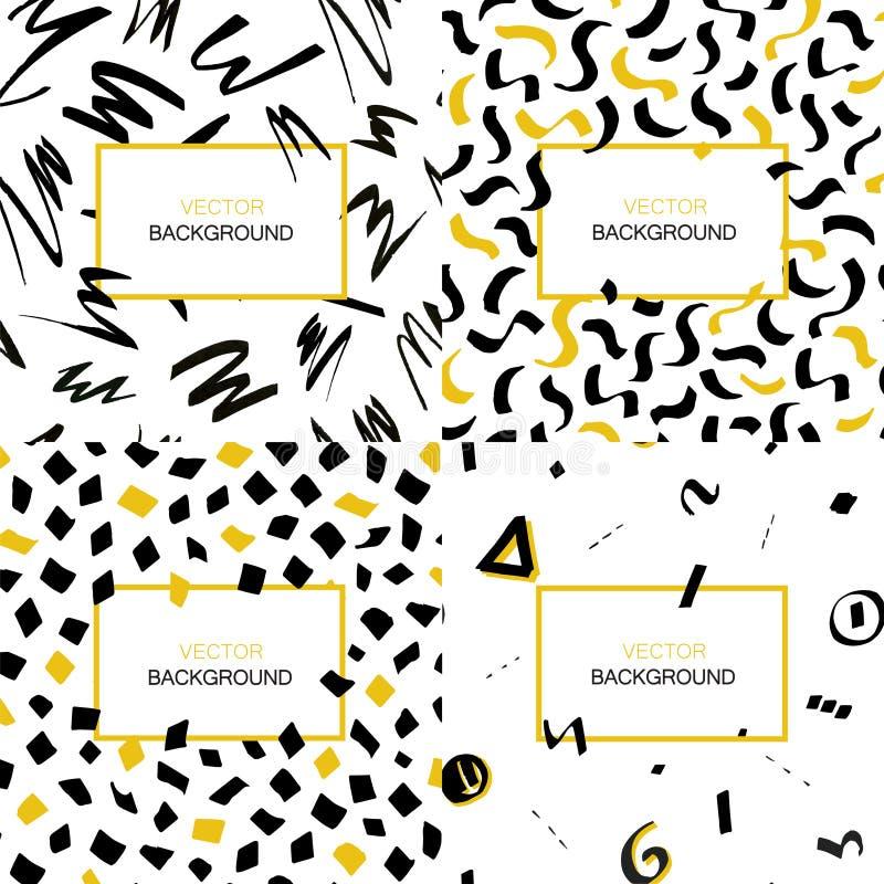 Комплект предпосылок нарисованных рукой черных и желтых абстрактных при ходы щетки и геометрические формы сделанные в стиле щетки иллюстрация штока