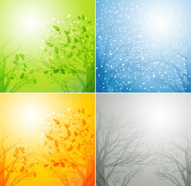 Комплект предпосылок сезонов иллюстрация штока