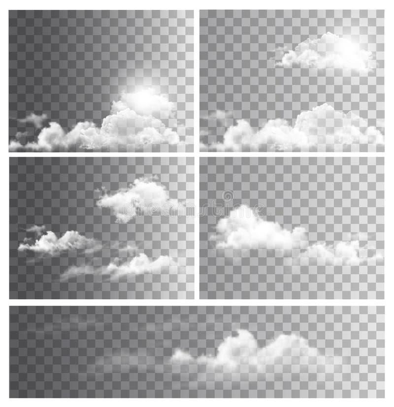 Комплект предпосылок с прозрачными различными облаками иллюстрация штока