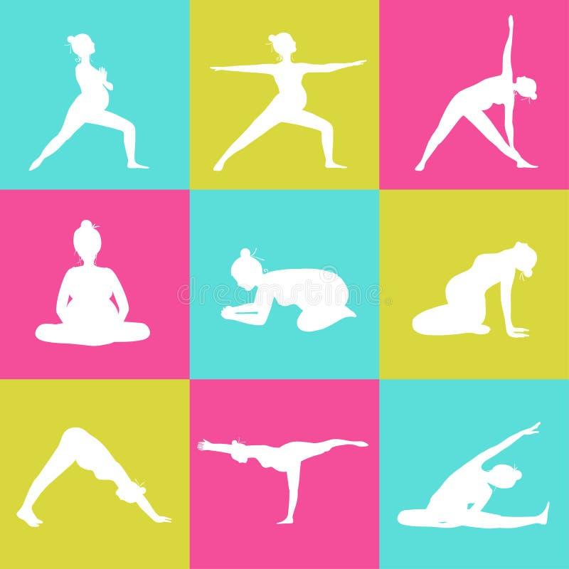 Комплект 9 представлений йоги для беременных женщин бесплатная иллюстрация