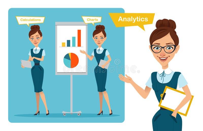 Комплект представлений характеров бизнес-леди девушка говорит Девушка показывает диаграмму роста прибыли и высчитывает финансы иллюстрация вектора