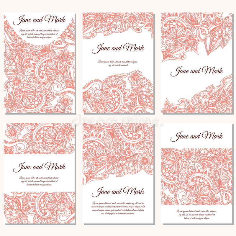 Комплект приглашений свадьбы Шаблон карточек свадьбы с индивидуальной концепцией Конструируйте с doodles для спасения дата, день  бесплатная иллюстрация